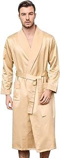 LZJDS Mens Robe Silk Long Sleeve V-neck Kimono Bathrobe Sleepwear Loungewear,Gold,1X