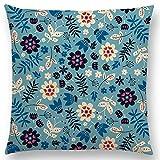 ONETOTOP Patrón Floral Lindo Flores Coloridas Hierba florecer jardín de Flores Feliz floración Lindo Juego de Cojines sofá Funda de Almohada