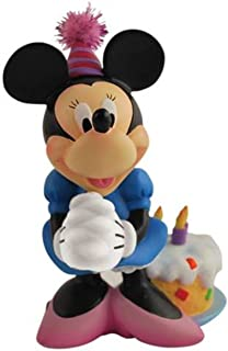 Disney Minnie Mouse Figurine with Striped Party Hat and Birthday Cake