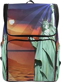 MONTOJ La Estatua de la Libertad Bandera Americana Estrellas al Aire Libre Senderismo Mochila de Senderismo y Viaje con Compartimento para portátil y Mochila de Camping