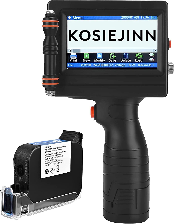 Portable Handheld Printer 600DPI with 4.3 Inch Touch Screen,KOSIEJINN Handheld Inkjet Printer Impresora Portatil Quick-Drying Inkjet Coding Machine for Trademark, Logo,Date Coder,Label,QR Code Print