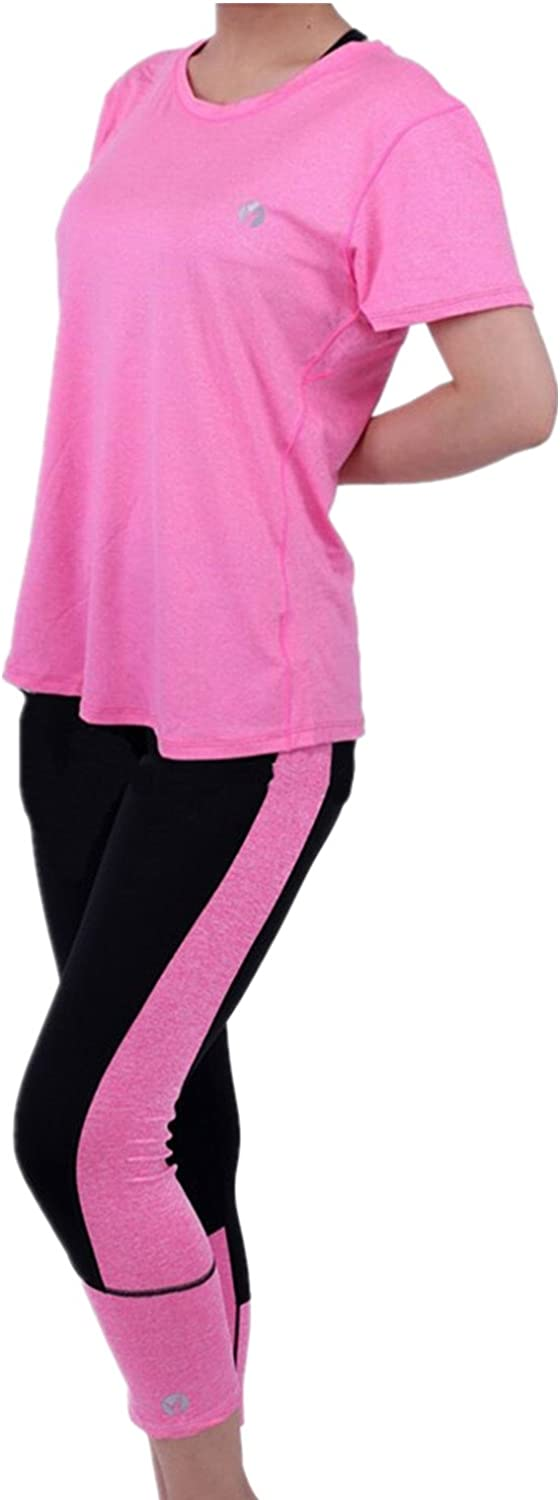 2 Pieces Sets Stretch Activewear Women's Gym Yoga TShirt and Leggings Pants Workout Outfit