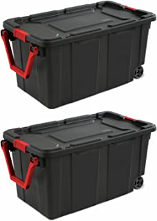 Sterilite 40-Gallon/151-Liter Wheeled Industrial Tote in Black, Case of 2 (40-Gallon)