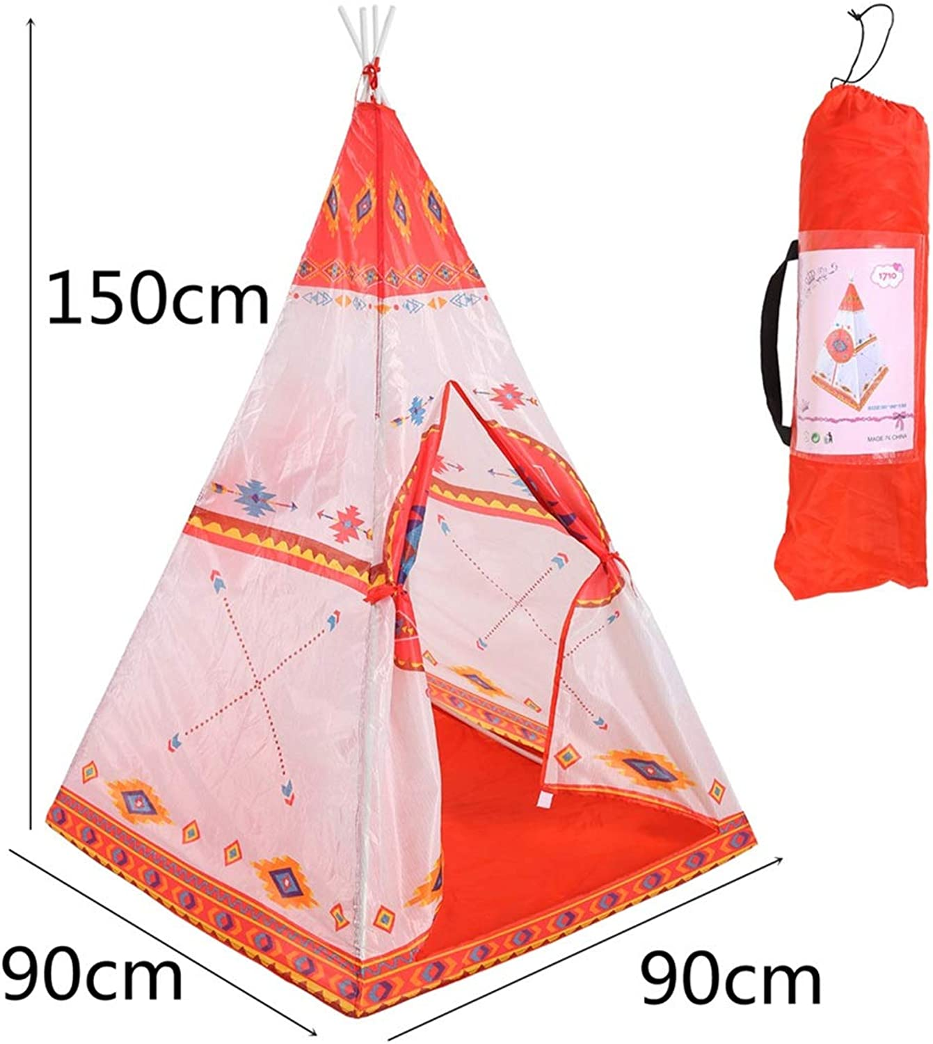 FUBULECY Kinderzelt Indoor Outdoor Faltbare Kinderspielhaus Mini Tipi (Farbe   Orange)