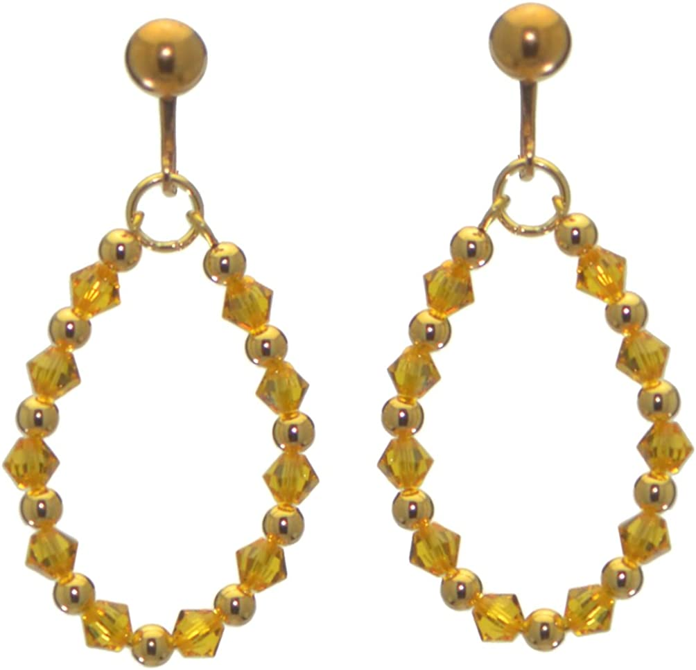 ADEOLA OVAL gold plated sunflower yellow crystal hoop clip on earrings