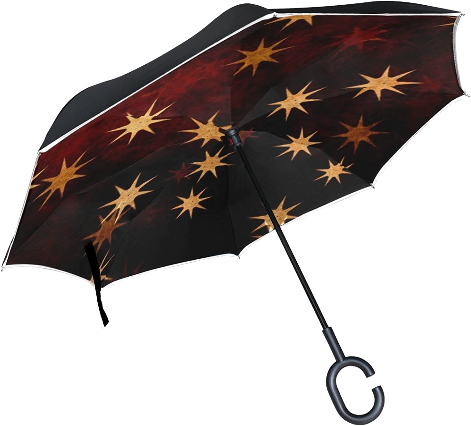Double Layer Ingreened Stars gold orange Yellow Brown Red Christmas Umbrellas Reverse Folding Umbrella Windproof Uv Predection Big Straight Umbrella for Car Rain Outdoor with CShaped Handle