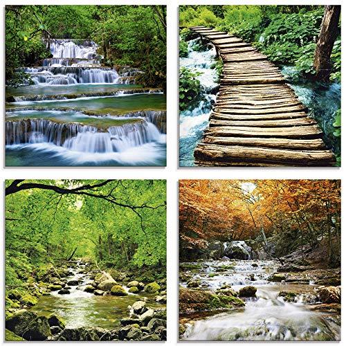 Artland Glasbilder Wandbild Glas Bild Set 4 teilig je 30x30 cm Quadratisch Natur Wald Urwald Dschungel Wasserfall Fluss Felsen Jahreszeiten S6GL