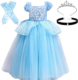 Princess Costumes Girls Blue Dress Up Fancy Halloween Christmas Party with Tiara and Choker Set