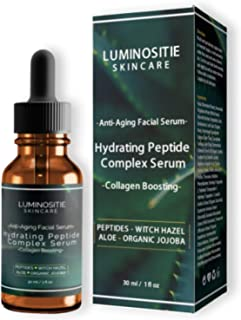 Peptide Complex Serum By Luminositie Skincare - Restore Your Skin's Natural Glow & Smooth Texture By Minimizing Fine-Lines & Wrinkles - Anti-Ageing Collagen Boosting Facial Serum - Vegan (30ml)