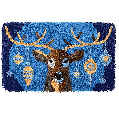 "NZHK DIY Reno Latch Kits de Gancho Alfombra Crochet Tapis Encantadora Animal Bordado Alfombra de Ganchillo 20""x 15"",Reindeer"