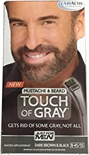 JUST FOR MEN Touch of Gray Mustache & Beard Hair Treatment, Dark Brown & Black 1 ea (Pack of 2)