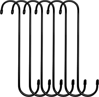 ESFUN 6 Pack 10 inch Extra Large S Hooks Black Heavy Duty Plant Hanging Hooks Long S Shaped Extension Hooks for Kitchenware,Utensils,Pergola,Closet,Flower Basket,Garden,Patio,Indoor Outdoor Uses