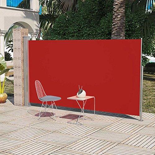 Zora Walter Store de terrasse latéral 160 x 300 cm avec Pare-Vent et Pare-Vent Rouge