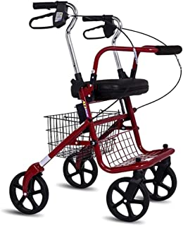 Shopping Trolleys Seniors Shopping Cart Folding Trolley Go Out and Buy A Food Truck Four-Legged Cane Walker Can Bear 150 Kg (Color : Red, Size : 62 * 58 * 85-96cm)
