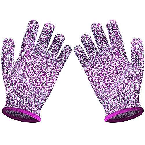 HUI JIN - Guantes de trabajo resistentes a los cortes, guantes de seguridad para cocina y al aire libre, color violeta XXXS