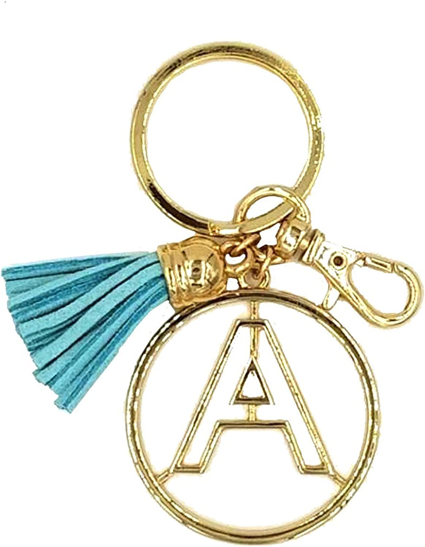 Crown Alphabet Initial Letter Keychain, Key Ring, Bag Charm w  Tassel