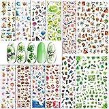 VINFUTUR Pegatinas Uñas Verano, 12 Hojas Pegatinas Uñas Decorativas Variadas Nail Art Stickers Calcomanías Uñas Adhesivas Etiquetas Engomadas para Manicura Diseño Arte de Uñas DIY