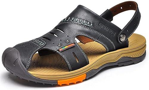 W&XY Hommes outdoor sandales en cuir sport chaussures de plage Baotou antidérapant pantoufles déodorant , noir