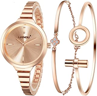 Jechin Fashion Women's Rose Gold-Tone Bracelet Watch and Charm Rose Gold Bracelet Set