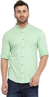 GRITSTONES Men's Cotton Full Sleeves Chinese Collar Shirt