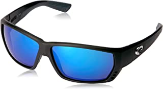 Costa Del Mar Men's Tuna Alley 580G Polarized Rectangular Sunglasses, Matte Black/Grey Blue Mirrored Polarized-580G, 62 mm