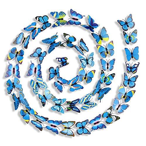 Httzhongchuang Papillon de Simulation, Bijoux Papillon en Trois Dimensions, décoration de Rideau Mural, Papillon Artisanal, Bleu, adhésif Double Face