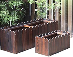 CHENTAOCS Anti-corrosion Wood Flower Box, Wooden Flower Pot Trough, Outdoor Roof Planting Box, Wooden Frame Balcony Planting Pot Flower Trough, Planting Flower Box Flower Box Flower Box Anti-corrosion