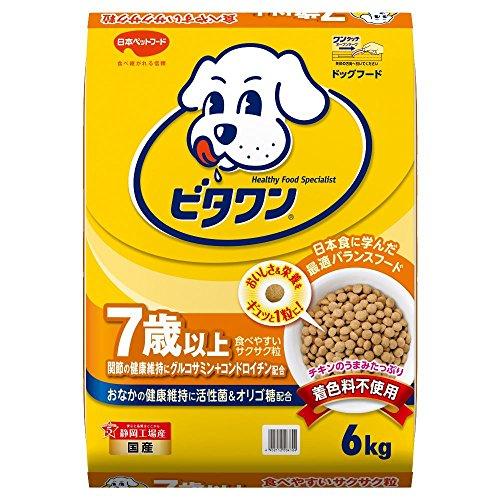 ビタワン 7歳以上用 【無着色粒】 【国産】 【大容量】 イエロー 犬 6kg