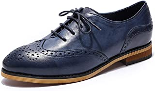 MIKCON Womens Leather Oxfords Vintage Wingtips Brogues Flats lace-up Saddle Oxfords Shoes for Women ladis Girls