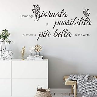 decalmile Stickers Muraux Citations et Lettres Dai ad ogni giornata la possibilita Papillon Autocollant Mural Texte Noir S...