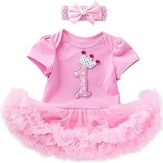 Shalofer Outfit Set Baby Girls 1st Birthday Day Lace Tutu Dress with Headband