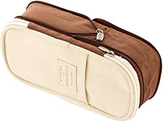 Pencil Cases Pencil Case Macaron Color Canvas Stretch Double Layer Large Capacity Pencil Box Pencilcase Kids School Stationery Pencil Holders (Color : Brown)