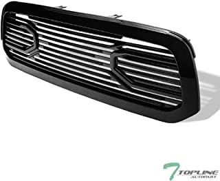 Topline Autopart Glossy Black Big Horn Style Front Hood Bumper Grill Grille ABS with Shell For 13-18 Dodge Ram 1500/2019 Ram 1500 Classic