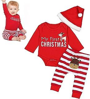 3e6616e409229 Tenues Noël Bébé Garçon Fille Mon Premier Xmas Longues Barboteuse et  Pantalons Rayé Costume Nouvel an