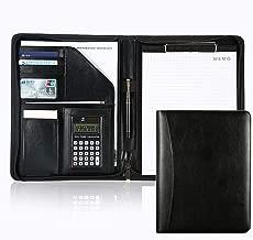 Business Portfolio Case Clipboard Padfolio with Clipboard & Calculator, Mens Zippered Leather Personalized Portfolio Case Document Folder