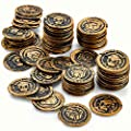 Kicko Pirate Coins Pirates Treasure Coins - 72 Pack Plastic - Pirate Doubloons Chest Fillers - for Kids, Toys Games, Party Favors, Bag Stuffers, Fun, Toy, Prize, Pinata Filler