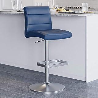 Dark Blue Lush Adjustable Height Swivel Armless Bar Stool