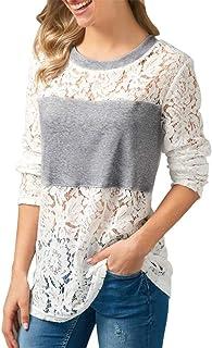 b79c6e4d2e7 Battercake Camisas Mujer Primavera Elegante Moda Blusas Hueco Splice Encaje  Casuales Mujeres Cuello Redondo Manga Larga