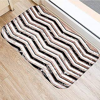 OPLJ Rose Golden Marble Pattern Anti-Slip Suede Carpet Door Mat Doormat Outdoor Kitchen Living Room Floor Mat Rug A4 40x60cm