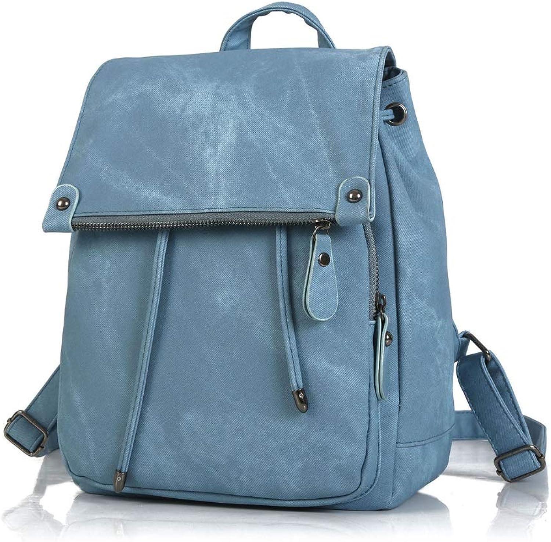 YSNRH Backpack Women's Backpack PU Leather Wallet Women's Shoulder Bag Student Back Bag College Wind Hiking, Camping, Travel, Business (color   blueee)