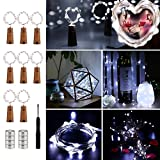 BrizLabs Wine Bottle Lights with Cork, 20 LED 6.56ft Fairy Lights, 24 Pre-Installed+8 Replacement Batteries DIY 8 Pack Battery Lights for Wedding, Home, Party, Indoor/Outdoor Decorations, Cool White