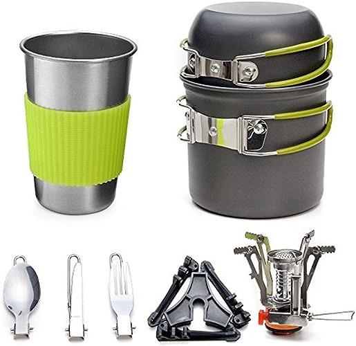 XIALIUX Batterie De Cuisine en Plein Air 1-2 Personnes Camping Camping Set De Poêle Combinaison Pot portable Réchaud à Gaz