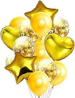 14 Pcs Gold Party Balloons, Star Heart Latex Confetti Balloon Set for Air Or Helium Decoration Birthday Wedding Anniversar...