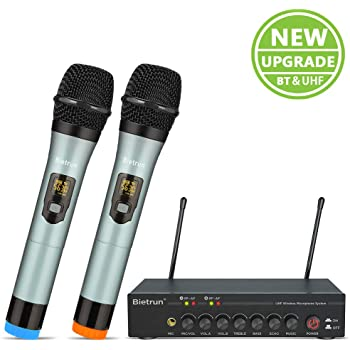 "Wireless Microphone, with Echo, Treble, Bass, UHF Metal Dual Handheld Wireless Dynamic Bluetooth Microphone System, 160ft Range, 1/4"" Output, for Singing, Church, Karaoke, Party, DJ, Wedding, Speaker"