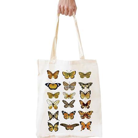Tote Bag Butterfly on Flower,Book Bag Reusable Bag Market Bag Girls Bag,Womens Bag,School bag,Gift Bag,Holiday,Animal Bag,Christmas Gift