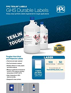 PPG Teslin Blank GHS Chemical Labels for Laser Printers, Durable, UV Resistant, Waterproof, 4.75