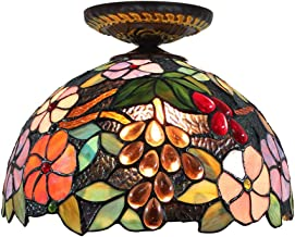 Tiffany Ceiling Fixture Lamp Semi Flush Mount 12 Inch Grape Stained Glass Lampshade for Dinner Room Living Room Bedroom E2...