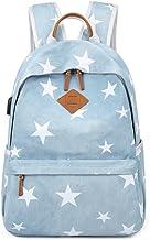 "Acmebon Unisex Vintage Canvas Backpack with USB Charge Port Fashion 15.6"" Laptop Rucksack Retro Stars"