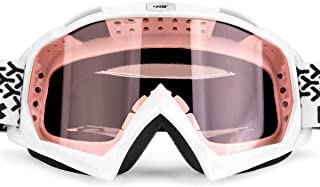 BATFOX Motorcycle ATV Goggles Dirt Bike Motocross Safety ATV Tactical Riding Motorbike Glasses Goggles for Men Women Youth Fit Over Glasses UV400 Protection Shatterproof (Pink)