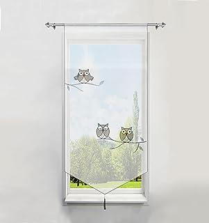 1Pièce Rideau Brise-bise LxH/40x90CM en Polyester Transparent Broderie Hibou Gris avec Pompon Rideaux Courts Décoration de...